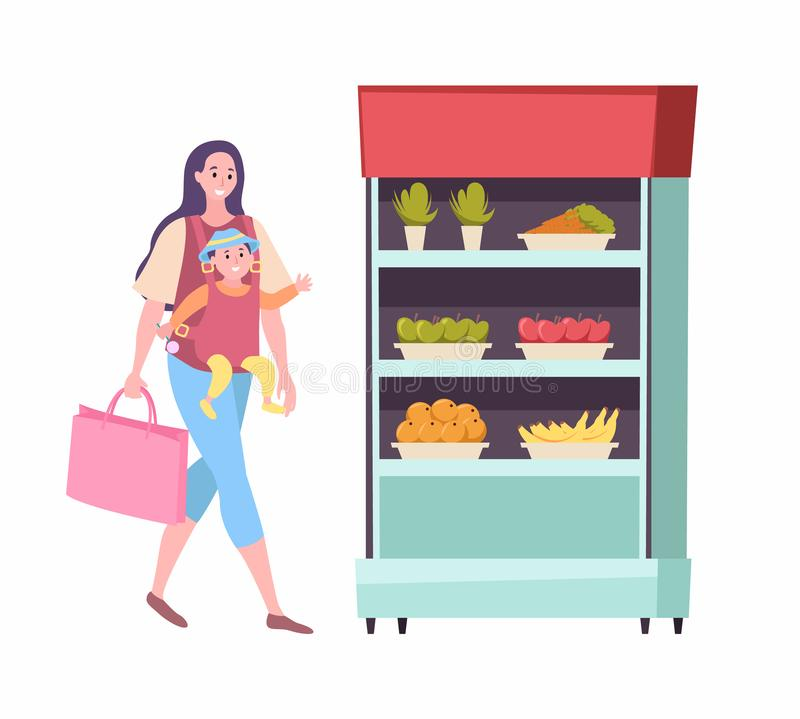 Mother Carrying Baby, Shopping Woman at Market royalty free illustration