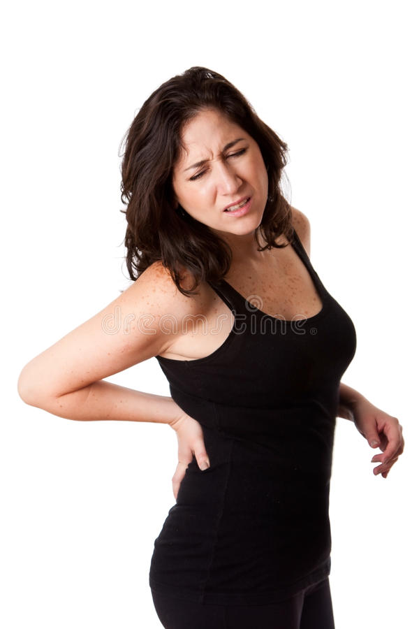 Download Woman with back injury stock photo. Image of holds, isolated - 16417200