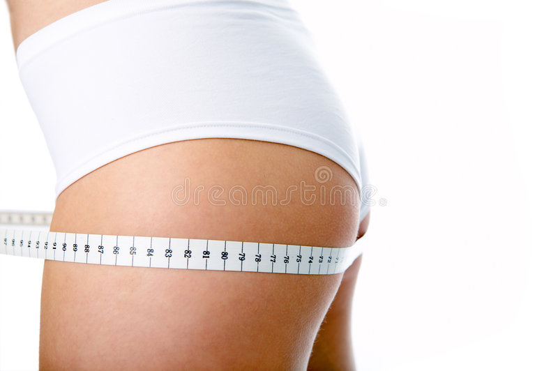 Woman back measure buttocks royalty free stock photos