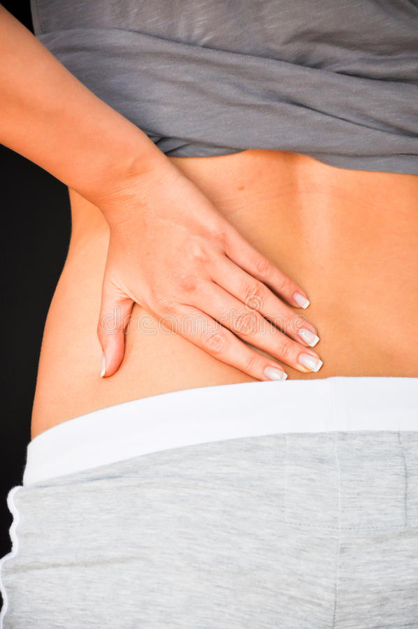 Woman back pain royalty free stock photo