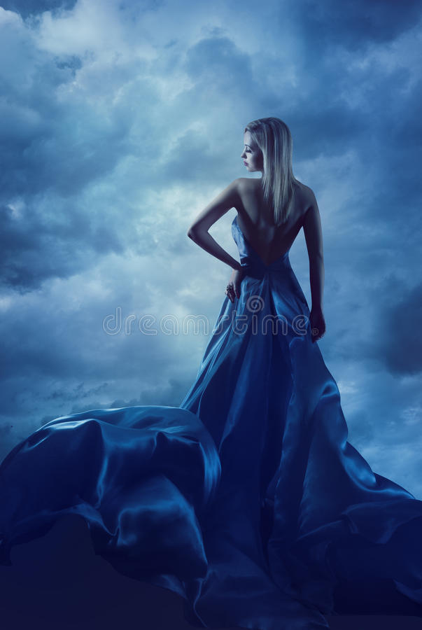 Woman Back Portrait in Evening Dress, Lady in Silk Gown Cloth royalty free stock image