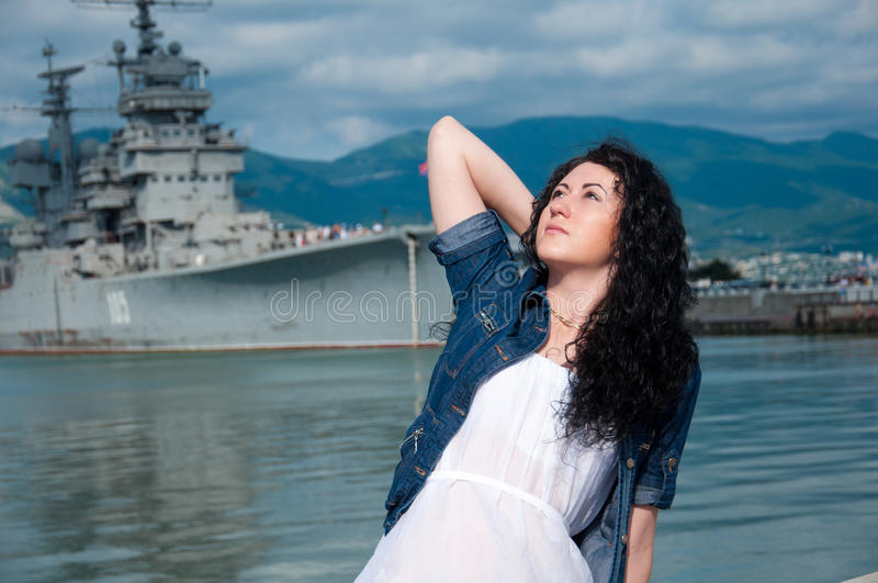 Download A  Woman On The Background Of A Ship Stock Image - Image of portrait, promenade: 20017871