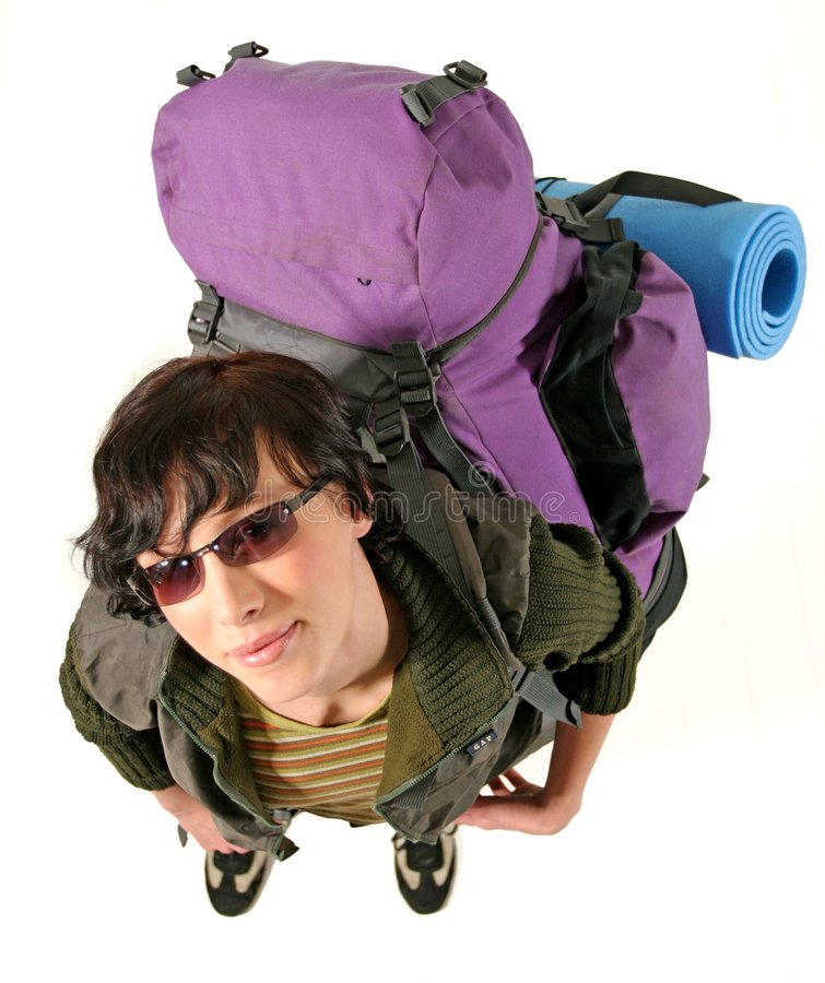 Download Woman with a backpack stock photo. Image of travel, hitch - 1495928