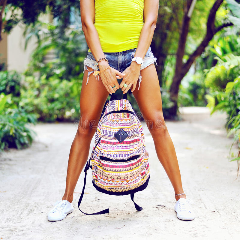 Woman with backpack royalty free stock photos