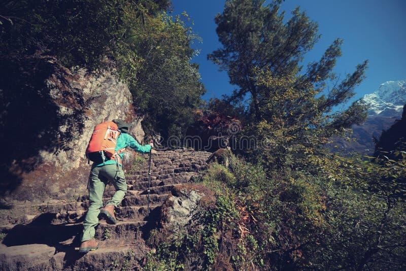 Woman backpacker trekking on himalaya mountains. Young woman backpacker trekking on himalaya mountains royalty free stock photos