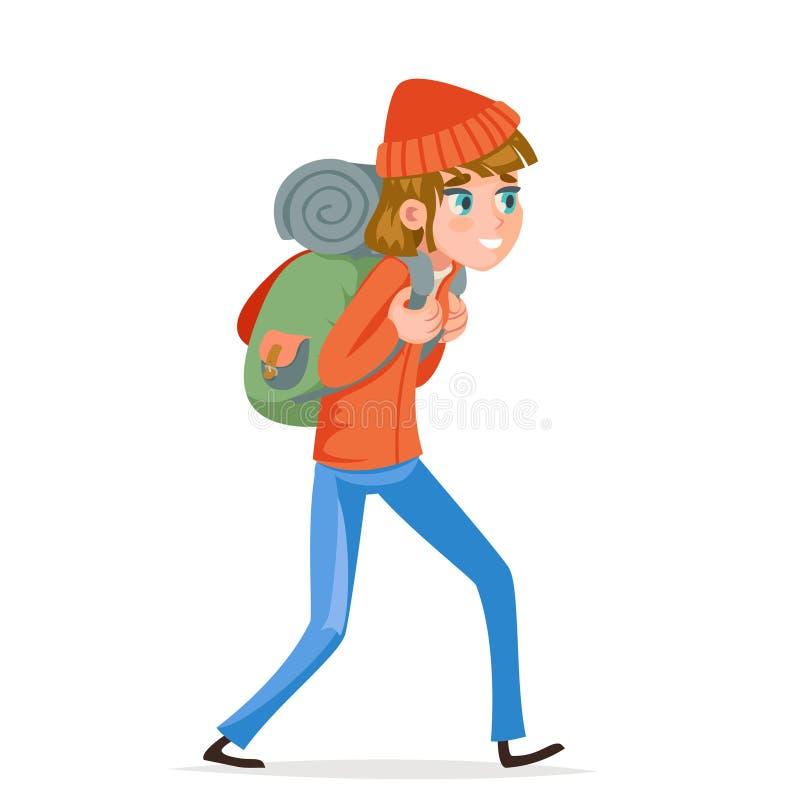 Woman backpacker walking traveler hiking active vacation backpack trip design icon vector illustration royalty free illustration