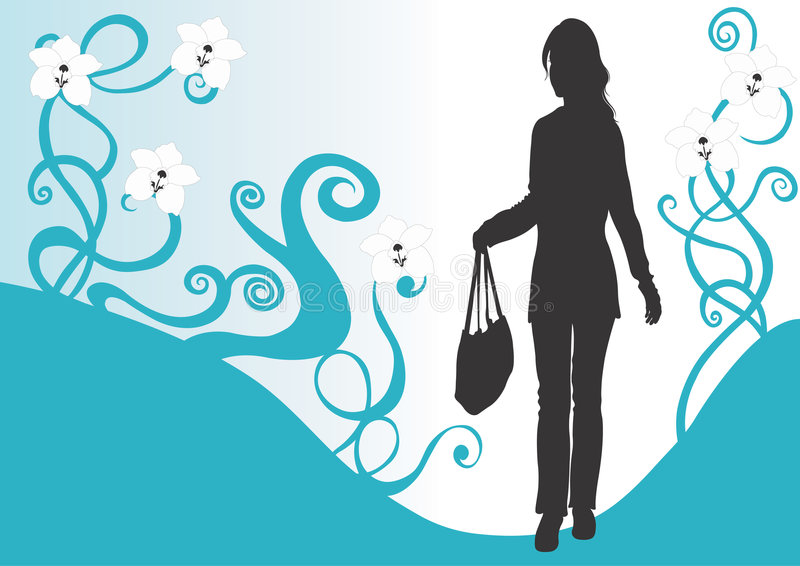 Woman with a bag stock illustration