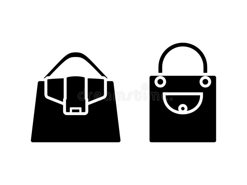 Woman bag black and white vector icon pictogram set. Lady accessory wardrobe symbol silhouette. royalty free illustration