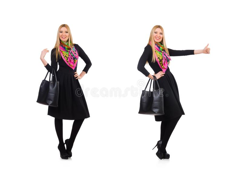 Woman with bag in fashion concept royalty free stock photos