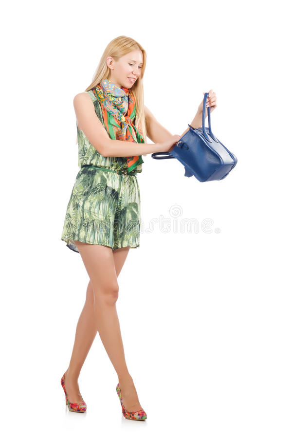 Woman with bag royalty free stock photography