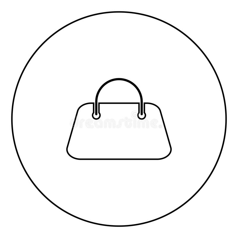 Woman bag icon black color in circle. Outline vector illustration royalty free illustration
