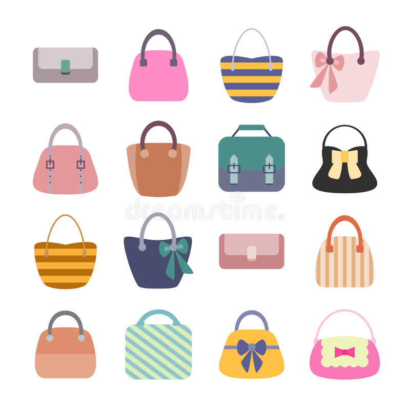 Woman Bag Set stock illustration