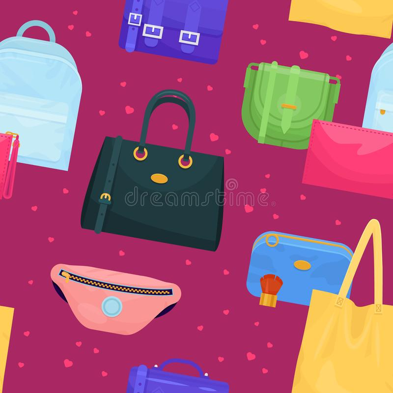 Woman bag vector girls handbag or purse and shopping-bag or baggy package from fashion store illustration set of. Shoppers bagged package background royalty free illustration