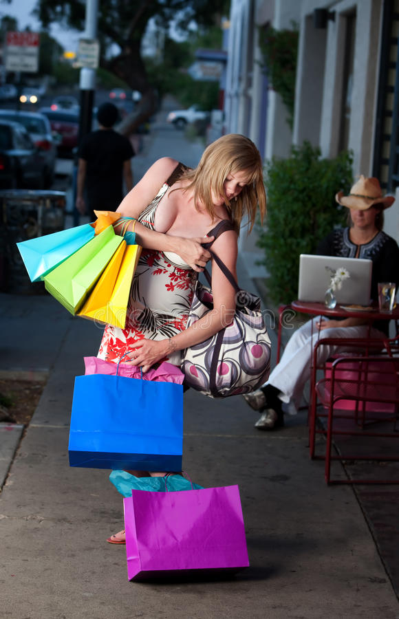 Download Woman with Bags stock image. Image of heavy, sack, outdoor - 14583099