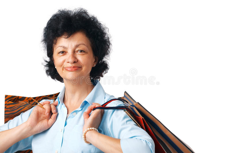 Download Woman with Bags. stock image. Image of elderly, senior - 15924343
