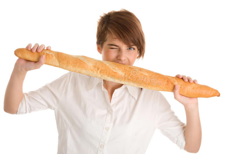 Download Woman with baguette stock photo. Image of bitting, bite - 20002948