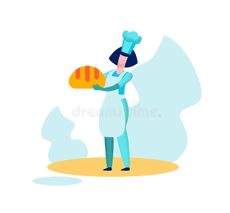 Woman Baker Chief Holding Bread Baked Production vector illustration