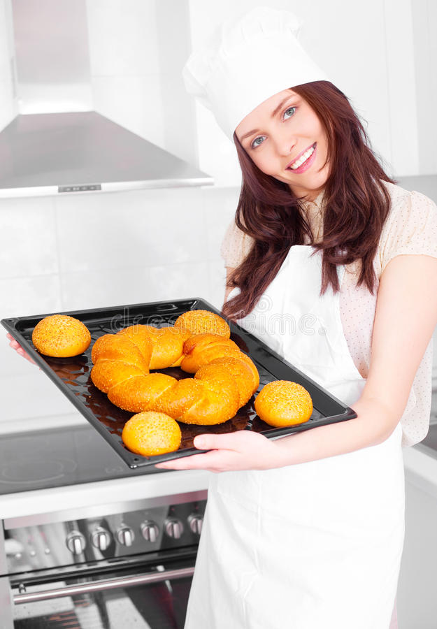 Free Woman Baking Bread Royalty Free Stock Image - 17715246