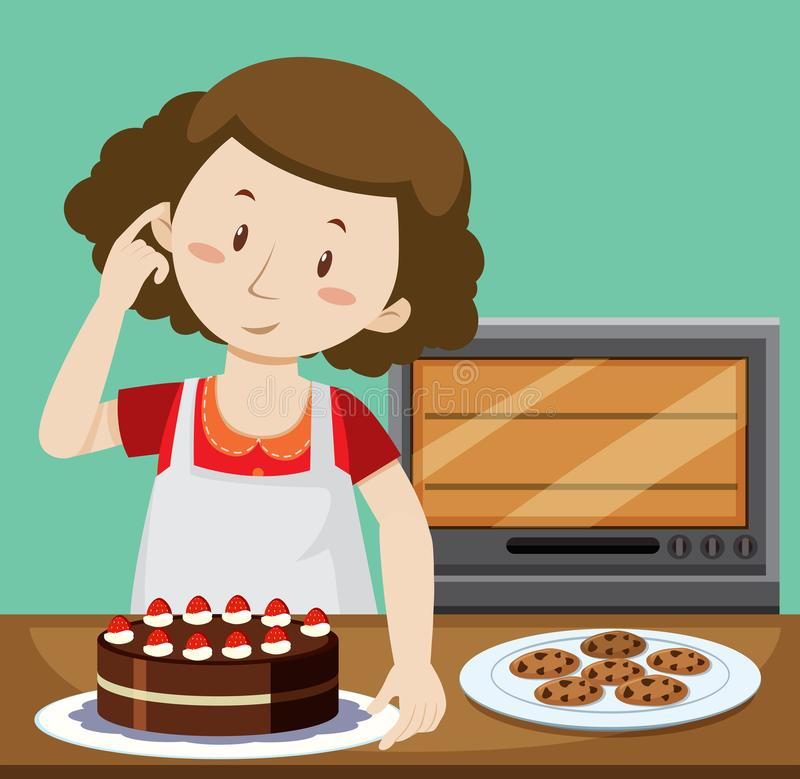 Woman baking cake and cookies royalty free illustration