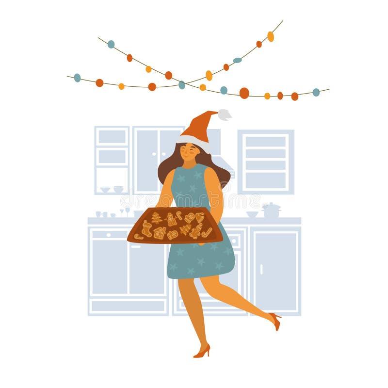Woman baking christmas gingerbread cookies scene vector illustration