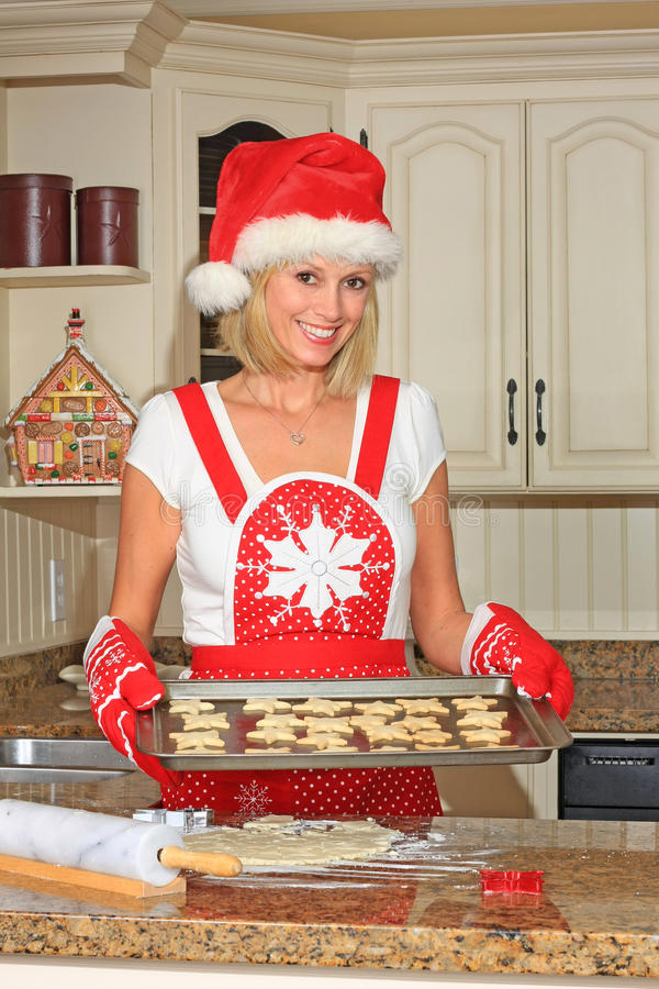 Download Woman baking cookies stock photo. Image of blond, home - 11858614