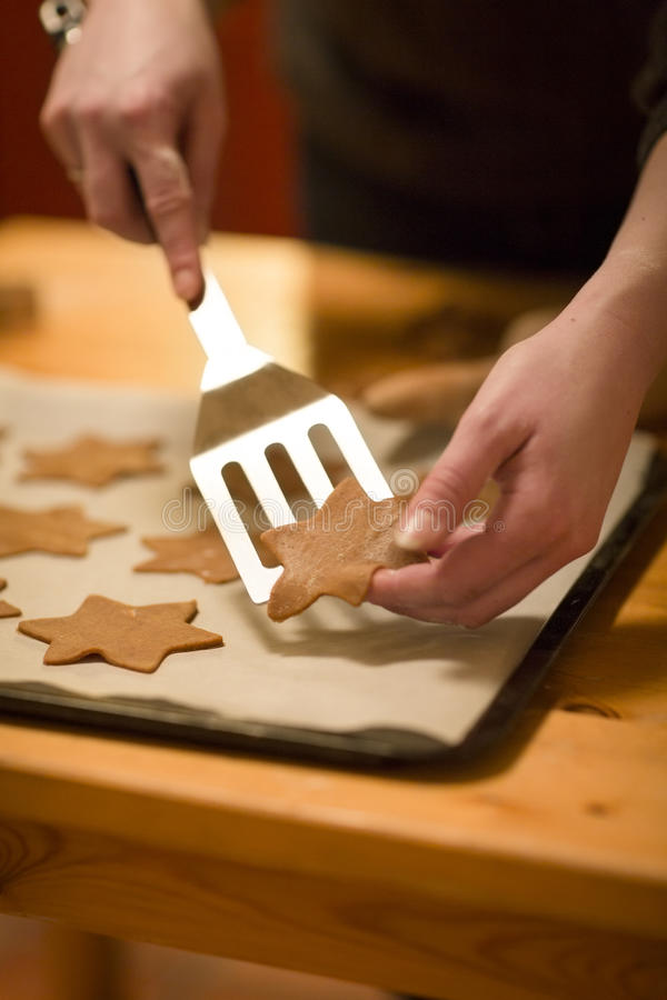 Woman Baking Gingerbread stock photography