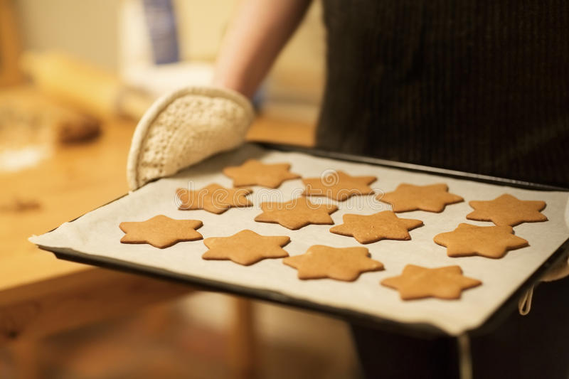 Baking Homemade Gingerbread Stars stock photo