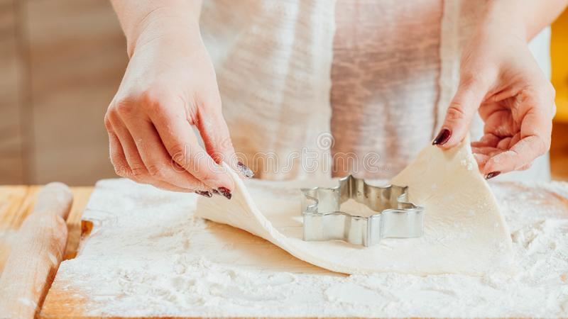 Woman baking cookie cutter pastry dough utensils royalty free stock photos