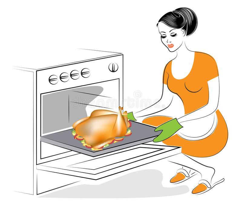 The woman is baking in the oven a stuffed turkey. A traditional dish on the festive table. Cranberry sauce, a garnish of apples, stock illustration