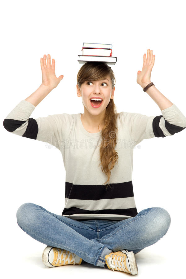 Woman Balancing Books On Head Royalty Free Stock Images