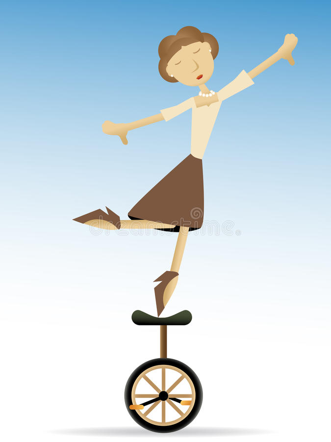 Download Woman Balancing On Tippy Toes On Unicycle Stock Vector - Illustration of life, leisure: 15832396