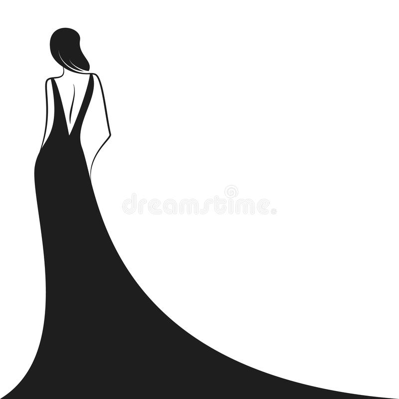 Woman in the ball gown black. Silhouette. Back view. Vector stock illustration