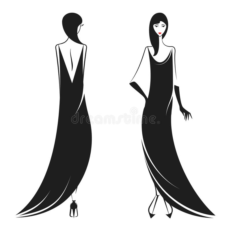 Woman in the ball gown black. Silhouette vector royalty free illustration