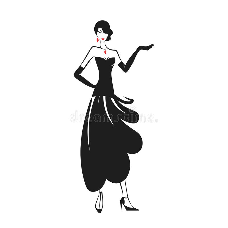 Woman in the ball gown black. Silhouette vector stock illustration