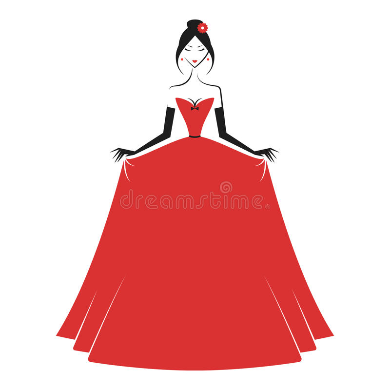 Woman in the ball gown red. Vector stock illustration