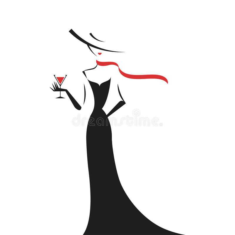Woman in the ball gown silhouette. Woman in the ball gown black silhouette vector royalty free illustration