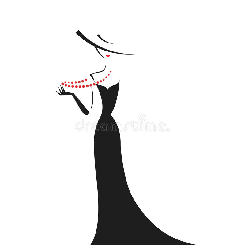 Woman in the ball gown silhouette. Woman in the ball gown black silhouette vector stock illustration