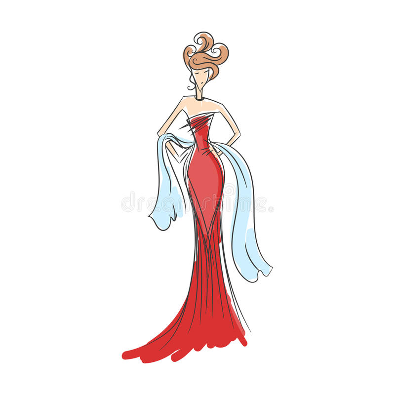 Woman in the ball gown silhouette. Woman in the ball gown red long hand drawing sketch vector royalty free illustration
