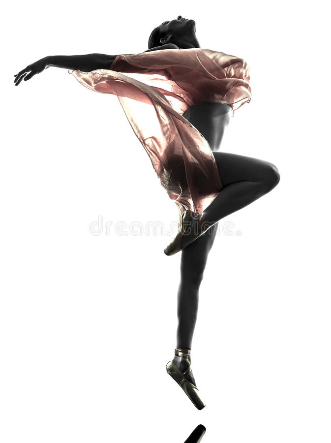 Woman ballerina ballet dancer dancing silhouette. One woman ballerina ballet dancer dancing in silhouette on white background stock images