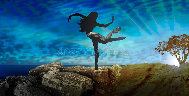 Woman ballerina silhouette dancing in nature stock illustration