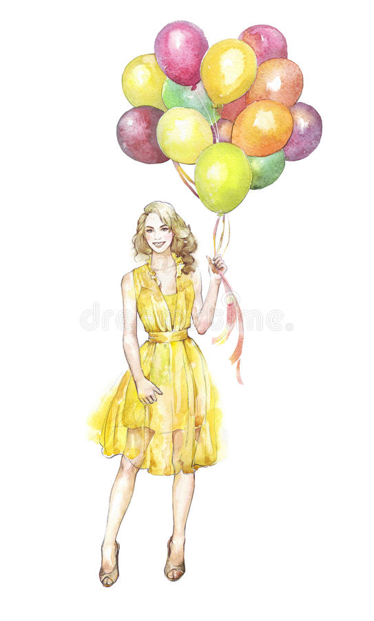 Woman with ballons. Young smiling woman with ballons royalty free illustration