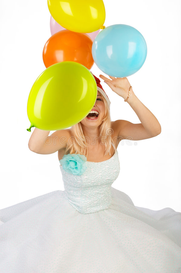 Download Woman with balls. stock image. Image of balloons, face - 621133