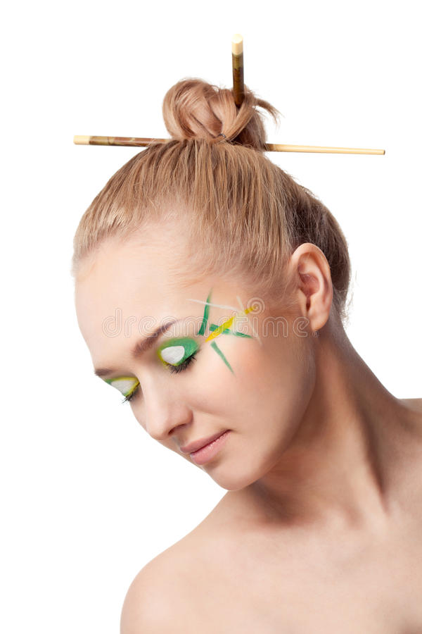 Download Woman With Bamboo Leaves Style Makeup Stock Photo - Image of beautiful, beauty: 20652098