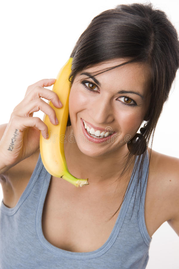 Download Woman Smile Yellow Fruit Banana Playing Telephone Stock Photo - Image: 21663342