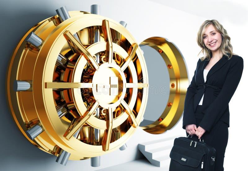 Woman and bank vault. Bank golden vault door 3d and smiling woman stock photo