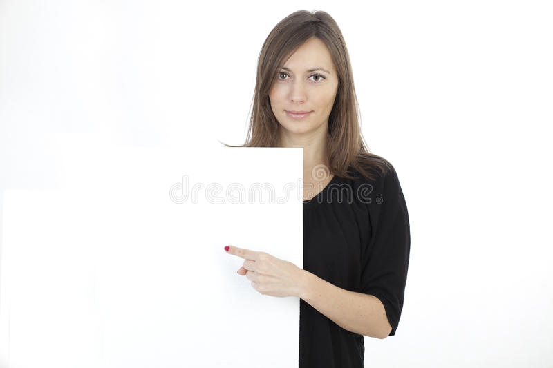 Woman banner add. Woman holding a banner add stock photos