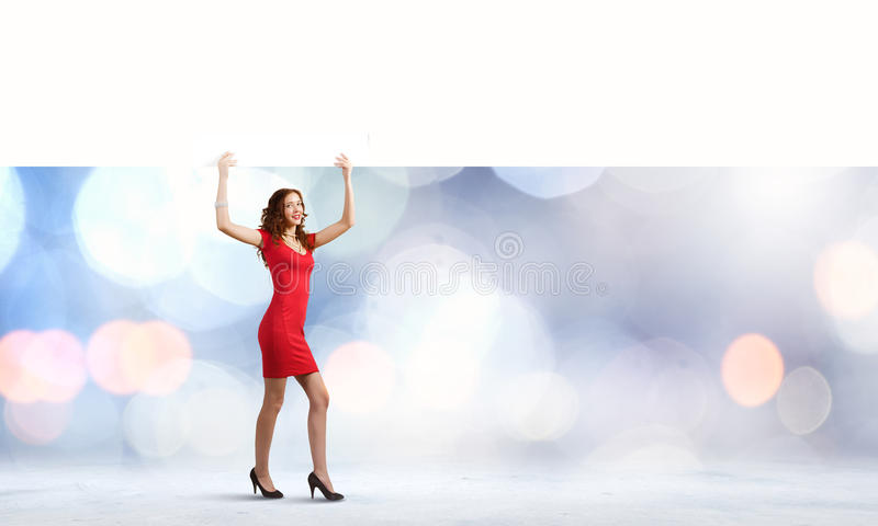 Woman with banner royalty free stock image