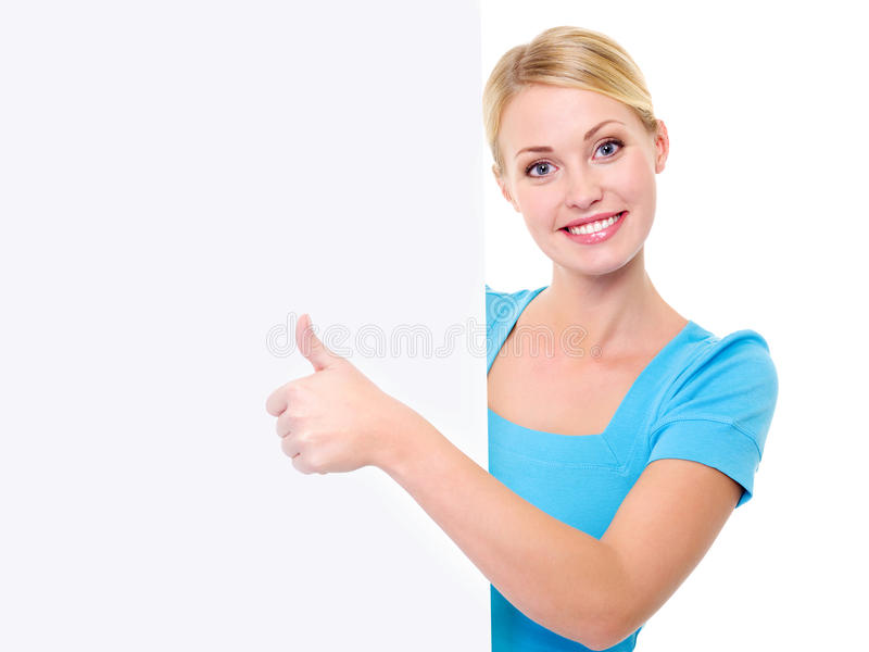 Woman And Banner And Showing Thumbs-up Stock Photography