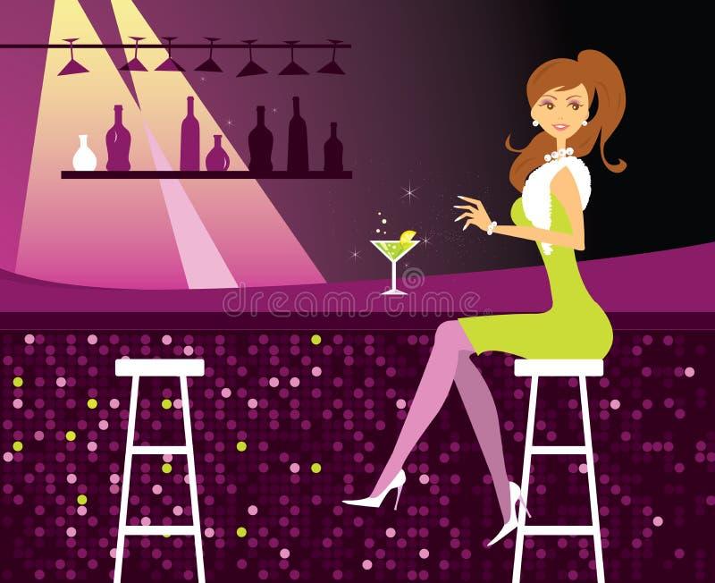 Woman in bar stock illustration