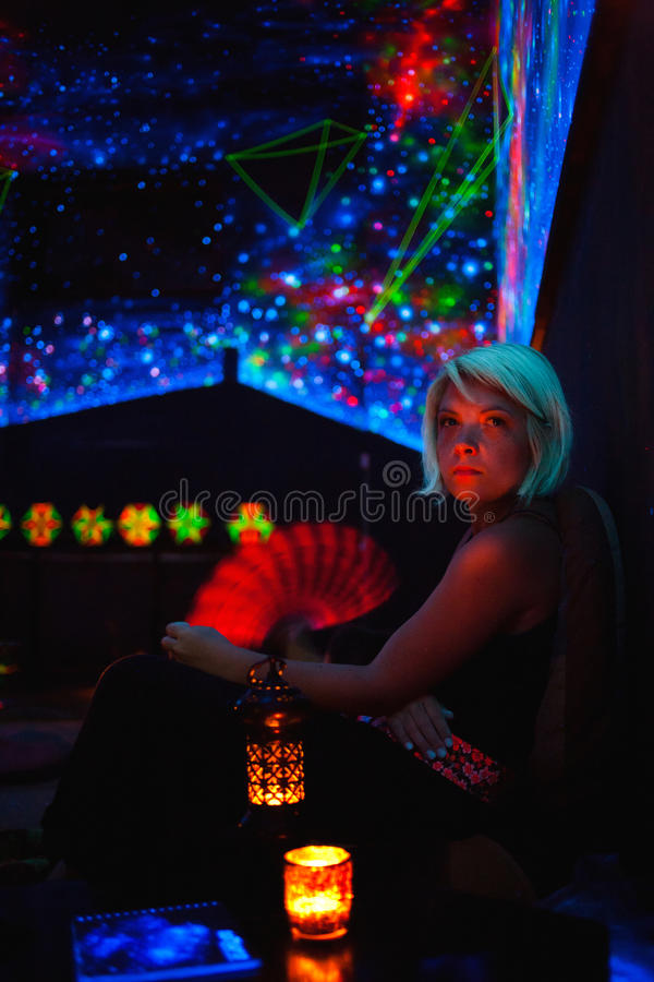 Download Woman in bar lounge stock photo. Image of girl, serious - 24040296